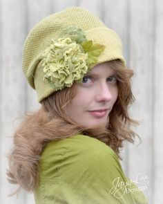 Spring Green Slouchy Fabric Cloche Hat by Jaya-Lee Designs.  Handmade from vintage fabric.
