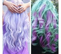 Multi Colored Hair. Love the lavender and teal!