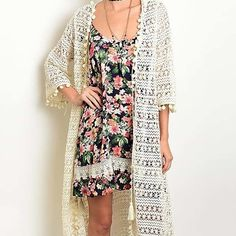 Ivory Crochet Midi Kimono [[ DETAILS & SLB PHOTOS TO FOLLOW ]] SouthernLushBoutique Accessories Scarves & Wraps