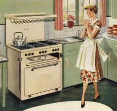It's love at first sight with my new stove! ~ 1951.