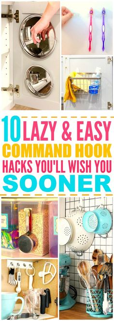 10 Life Changing Ways to use Command Hooks These 10 life changing command hook hacks are THE BEST! I& so happy I found these AWESOME tips! Now I can organize and decorate my home! Definitely pinning for later! Organisation Hacks, Storage Organization, Diy Organizer, Storage Ideas, Household Organization, Just In Case, Just For You, Ideas Prácticas, Command Hooks