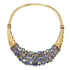 18 Karat Gold, Sapphire, Emerald and Diamond Necklace, René Boivin, After a Design by Suzanne Belperron, France. Late 1930s | lot | Sotheby's