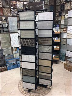 Jeffrey Court Multiple Spinner Tile Floor Display – Fixtures Close Up Store Fixtures, Tile Floor, Retail, Tiles, House Design, Display, Flooring, Furniture, Home Decor