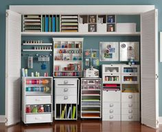 I'd KILL to have a craft room/closet like this.