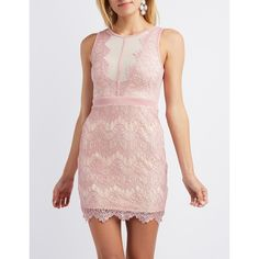 Charlotte Russe Scalloped Lace Bodycon Dress ($40) ❤ liked on Polyvore featuring dresses, mauve, metallic dress, bodycon dress, pink metallic dress, lace dress and mauve dress