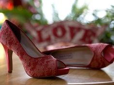 Love is in the air! Red bridal shoes