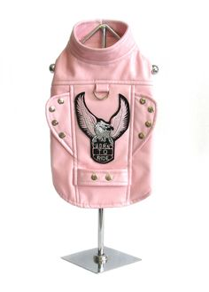 "Doggie Design ""Born-to-Ride"" Motorcycle Harness Jacket in Pink Faux Leather"