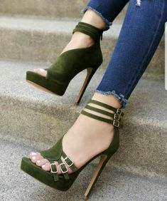 Share to get a coupon for all on FSJ Green Buckles Ankle Strap Platform Sandals High Heel Shoes How about this shoe? Share to get a coupon for all on FSJ Green Buckles Ankle Strap Platform Sandals High Heel Shoes Pretty Shoes, Beautiful Shoes, Gorgeous Heels, Beautiful Women, Crazy Shoes, Me Too Shoes, Talons Sexy, Pumps Heels, Heeled Sandals