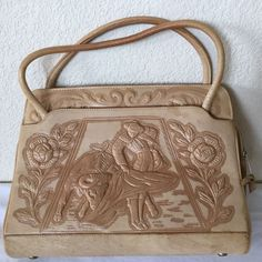 Vintage HECHNO Made in Mexico Purse Handbag Light Tan Beige Tooled Bull Fighter #HECHNO #ShoulderBag