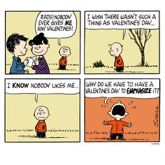Charlie Brown's thoughts on Valentines Day.