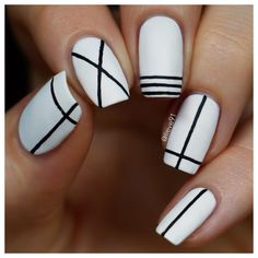 I am baaaack! I have been away for a while, but in my defense-I had the time if my life! Striped Nail Designs, Black And White Nail Designs, Gel Nail Art Designs, Striped Nails, White Nails, Really Easy Nails, Simple Nails, Line Nail Art, Lines On Nails