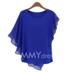 $8.17 Flounce Edge Scoop Neck Chiffon Fashionable Style Solid Color Blouse For Women