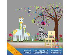 Animal Wall Decal Sticker  Nursery Wall Decal by WallArtForAllAges, $70.00