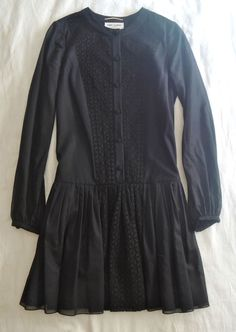 ~ SAINT LAURENT BLACK EMBROIDERED COTTON LONG SLEEVE DRESS (SO ADORBS!) ~ F 38 #SAINTLAURENT