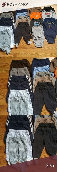 Very LARGE bundle of boys 6/9 month's tonight SALE 12 pairs of pants 8 tops  All diff brands and styles gently used some more than others and some not at all. Matching Sets