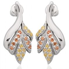 Exxotic season of love collection of 925 sterling silver citrine and yellow american diamond earring