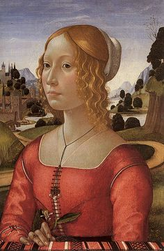 Portrait of a Lady by Ghirlandaio ca. 1490. Hair, scuffia, sheet partlet, gamurra.