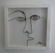 A imiter, il faut juste un bout de fil de fer, une pince, un vieux cadre et un peu d'imagination.../ Wire face. / By Rachel Ducker.
