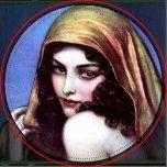 Beau collier. Couverture le du tombeau Magazine, 1927 par Wladyslaw Theodor Benda.  Peinture d'un beau gitan séduisant comme la femme avec des boucles de noir et un voile au-dessus de lui. L'arrière - plan frappe le bleu. L'image est dans le public domain.