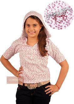 Blusinha Infantil feminina Oncinha Rosa    Blusinha Infantil feminina estilo oncinha na cor rosa e detalhes em strass, tamanho infanto juvenil. Bom gosto acompanha as meninas do country desde de cedo e tudo que elas vestem as Lojas Cowboys tem.