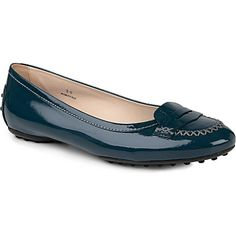 c628237d40c TODS Ballerina Rosa patent leather loafers (Blue Leather Loafers