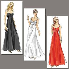 Sleeveless Evening, Prom WEDDING BRIDAL Bridesmaid Dress Pleated Inset Empire Waist Bare Back Vogue 8360 Sewing Pattern Bust 34-36-38 UNCUT