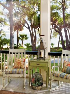 rocking chairs on a porch..