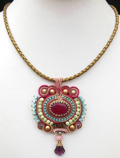 Pink and green Soutache pendant by MiriamShimon on Etsy, $85.00