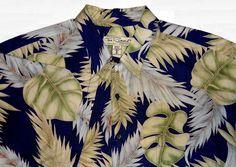 Tori Richard Hawaiian Print Shirt Mens XL Navy Green Tan Gold Leaves Fronds