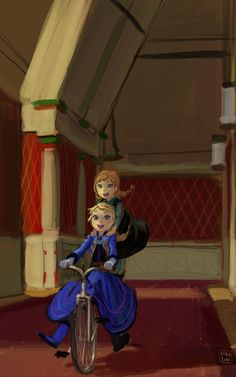 """Young Anna and Elsa from """"Frozen"""", if they'd been permitted to play with each other as children - Artist unknown Disney Films, Disney And Dreamworks, Disney Pixar, Walt Disney, Jelsa, Jack Frost, Disney Magic, Disney Frozen, Anna Frozen"""