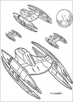 Coloriage de Star Wars avec des vaisseaux spatiaux et des droides de la fédération du commerce. Un coloriage inédit Star Wars pour tous les fans de l'univers. À imprimer gratuitement ou colorier en ligne sur hellokids.com
