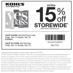 Pinned February 20th: 15% off everything at Kohls, or online via promo code #EXTRA15 #coupon via The Coupons App