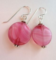 VIntage Czech Glass Bead Earrings Pink Swirl Vintage by lcatlla, $24.00
