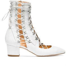 Liudmila White Drury Lane 50 Leather Lace Up Boots found on Polyvore featuring shoes, boots, white, white shoes, real leather shoes, white colour shoes, white boots and leather footwear