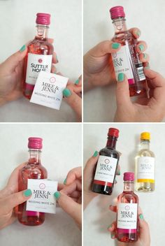DIY mini-wine bottle wedding favors Wedding Bottles, Wedding Favours Quirky, Wedding Favors Cheap, Quirky Wedding, Wedding Themes, Bridal Shower Favors, Party Favors, Wine Storage, Mini Wine Bottles