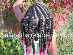 Half cornrows and sister twists with lots of beads!