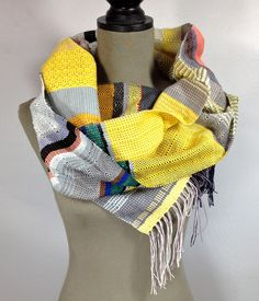 Leo // Handwoven Lemon, Petal Pink & Silvery Gray Scarf // Woven Women's Fashion // Table Runner // Striped Accessory // Gifts under 100 by pidgepidge on Etsy Cozy Scarf, Powder Pink, Envy, Leo, Hand Weaving, Women's Fashion, Group, Drawing, Gallery