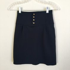 High waisted skirt Worn once to go to Gaga's concert at Chicago. Very cute and high waisted skirt. Have inner linen. Have a zipper on side. Length:18inch. Bought it in Japan. M size in JP=S size in US. Made in Japan. Polyester 95%. Polyurethane 5%. Bye Bye Skirts