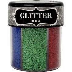 Glitter in felle kleuren. Geleverd in handige strooibus, Ongeveer 13 gr per kleur. Bevat de kleuren: blauw, groen, paars, goud, zilver, rood.