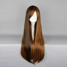 70cm Mix Brown Two Tone Harajuku High Temperature Heat Friendly Synthetic Costume Cosplay Wig