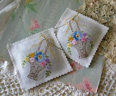 Lavender Sachets with vintage embroidery