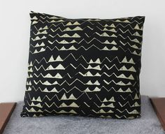 Hand Printed Mountain Pillow Cover in Gold on Black via Etsy