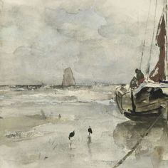 Visserspink aan het strand, watercolor by Jacob Maris, 1847 - 1899 - Strand-Collected Works of Lily - All Rijksstudio's - Rijksstudio - Rijksmuseum