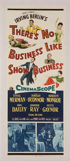 """There's No Business Like Show Business original 14"""" x 36"""" insert poster for Marilyn Monroe film. (TCF, 1953) Linen-backed Fine to Very Fine U.S. insert-sized poster depicting Marilyn Monroe two times. $7500 This item was part of the auction: Debbie Reynolds: The Auction"""