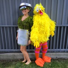 DIY Halloween Couple or BBF Costume. Oscar the Grouch & Big Bird. Sesame Street