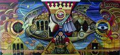 boris shapiro | Boris Shapiro - Le gros poisson d'or - Huile sur toile - 100x230 cm