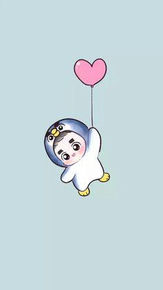 Wooow 😂 That little Kyungsoo is so cuteee 😂❤ Kyungsoo, Kpop Exo, Exo Cartoon, Kpop Anime, Exo Lockscreen, Exo Fan Art, Kim Jongdae, Cute Chibi, Japanese Graphic Design