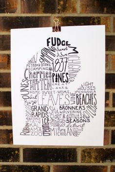 Love this! State of Michigan Typography Print by TheDraftingRoom on Etsy---one problem.it says wolverine but not spartan Typography Prints, Lettering, State Of Michigan, Michigan Travel, Northern Michigan, The Mitten State, Great Lakes, Mittens, Pure Products