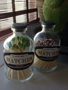decorative apothecary match bottle 30 long kitchen matches, strike anywhere, safety matches. by TheWhiteBarnCo on Etsy https://www.etsy.com/listing/249249049/decorative-apothecary-match-bottle-30