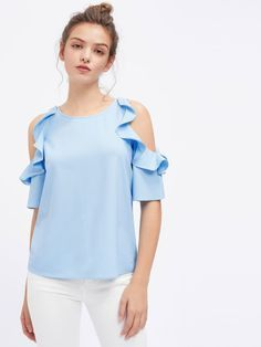 Women Tops and Blouses Half Sleeve Flounce Open Shoulder Top Blue Cold Shoulder Casual Blouse Modelos Plus Size, Mode Top, Vetement Fashion, Cool Summer Outfits, Blouse Designs, Blouses For Women, Casual Outfits, Casual Wear, Fashion Dresses